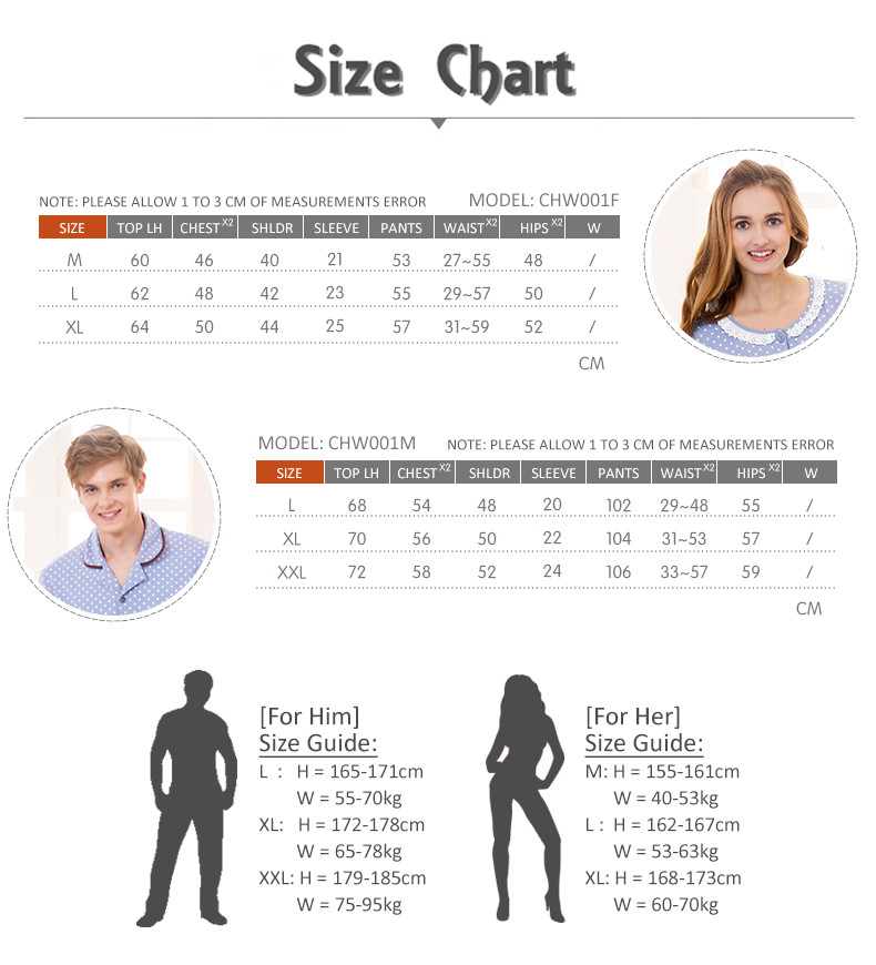 CHW001MF Classic Dotted Couple Home Wear cum Sleepwear Set Size Chart