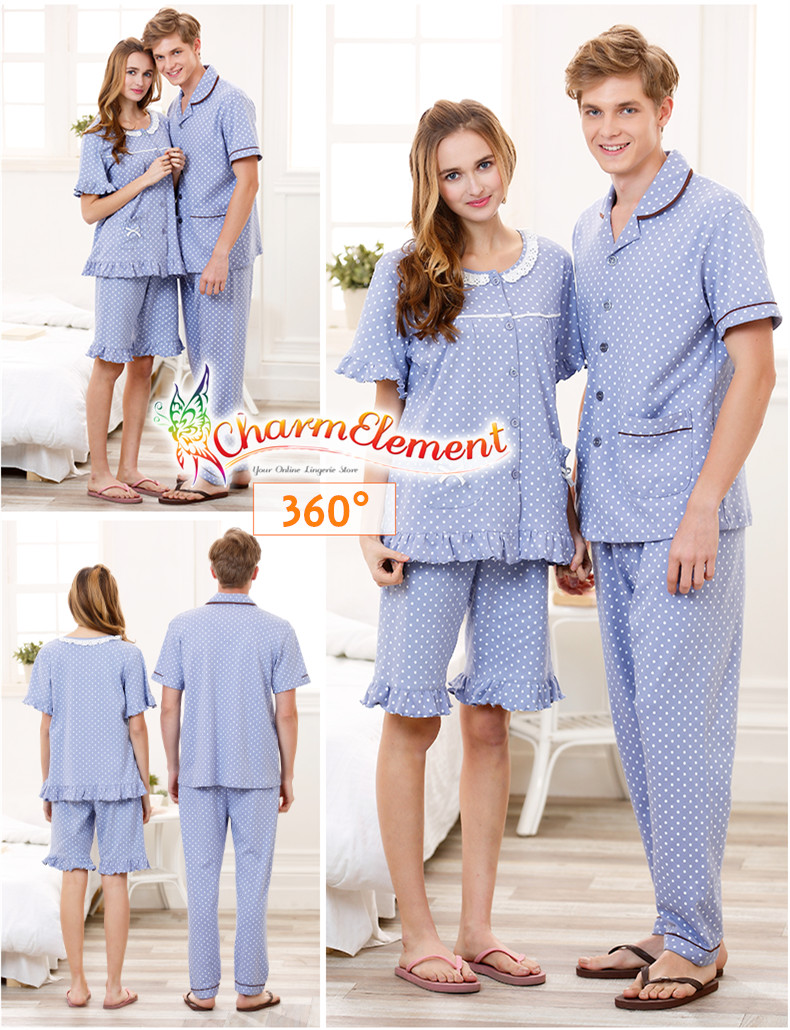 CHW001MF Classic Dotted Couple Home Wear cum Sleepwear Set View 02