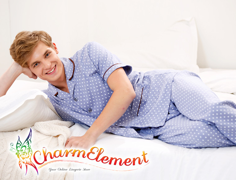 CHW001MF Classic Dotted Couple Home Wear cum Sleepwear Set View 05