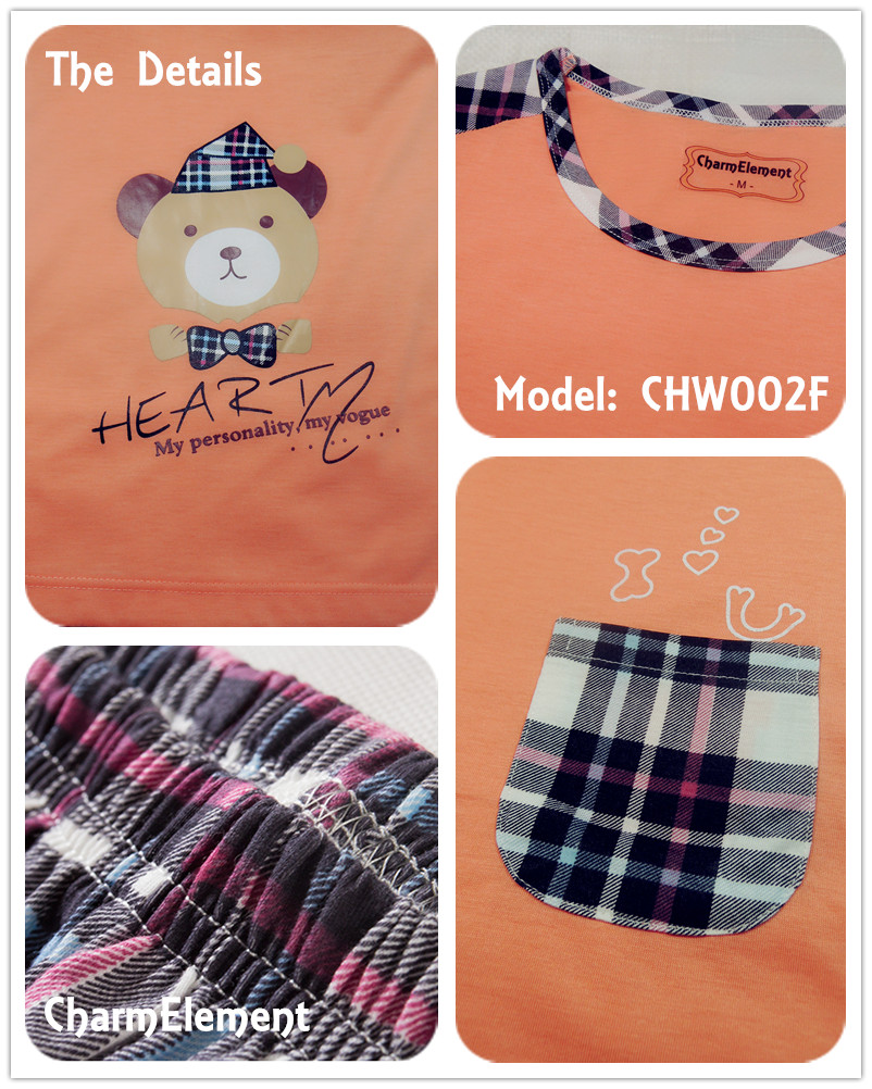 CHW002F Bear Checkered Couple Home Wear Set Details