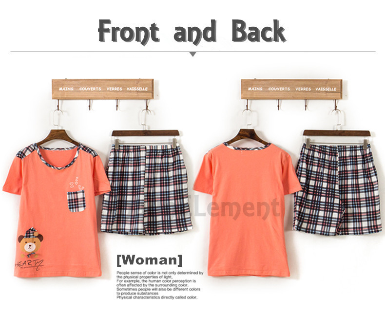 CHW002F Bear Checkered Couple Home Wear Set Front and Back