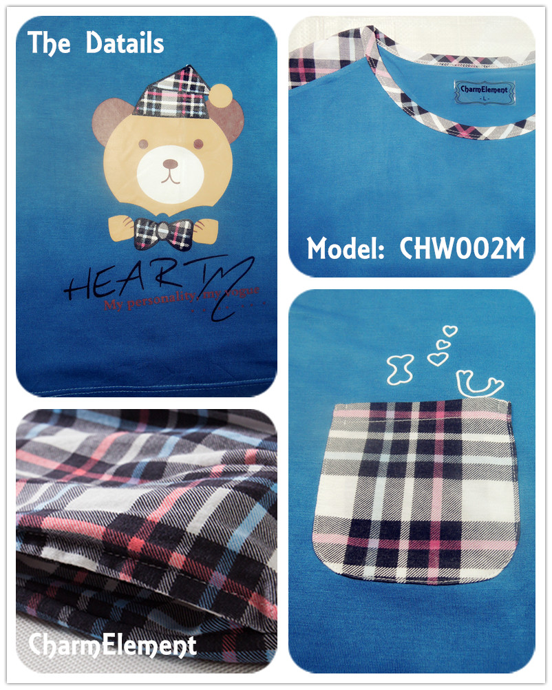 CHW002M Bear Checkered Couple Home Wear Set Details