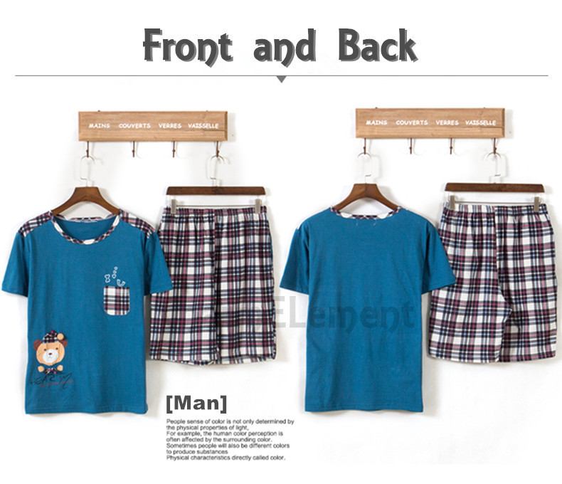 CHW002M Bear Checkered Couple Home Wear Set Front and Back
