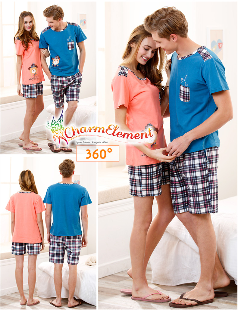 CHW002MF Bear Checkered Couple Home Wear Set View 02