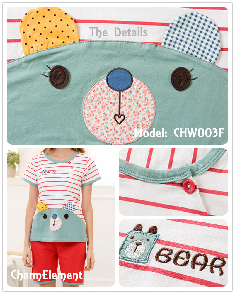 CHW003F Sweet Bear Couple Home Wear Set Details