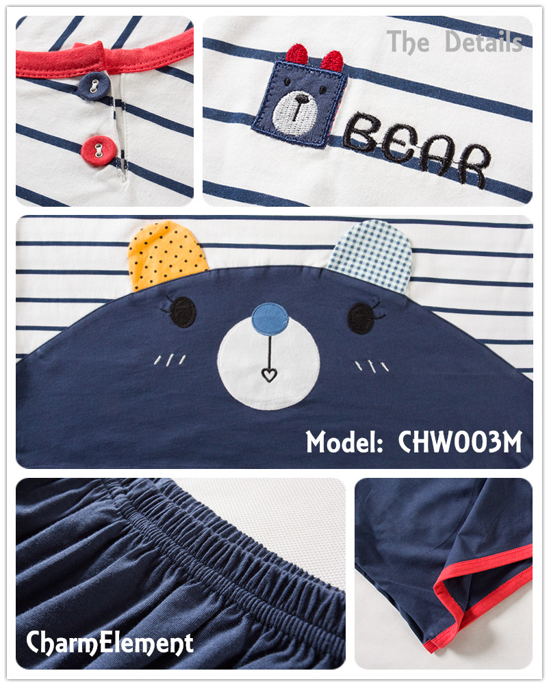 CHW003M Sweet Bear Couple Home Wear Set Details