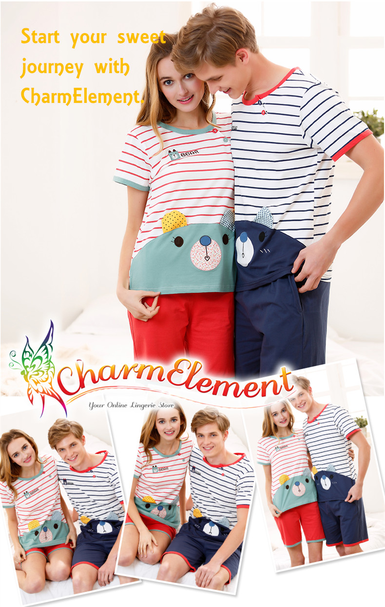 CHW003MF Sweet Bear Couple Home Wear Set View 01