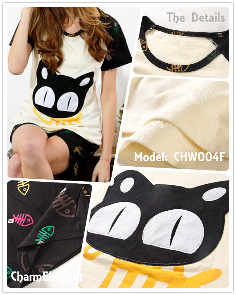 CHW004F Cat and Fish Couple Home Wear Set Details
