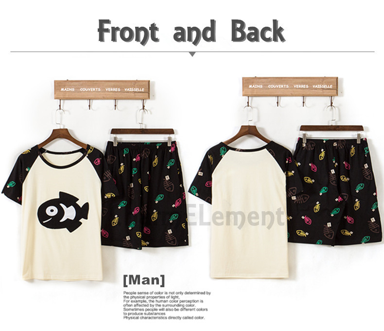 CHW004M Cat and Fish Couple Home Wear Set Front and Back