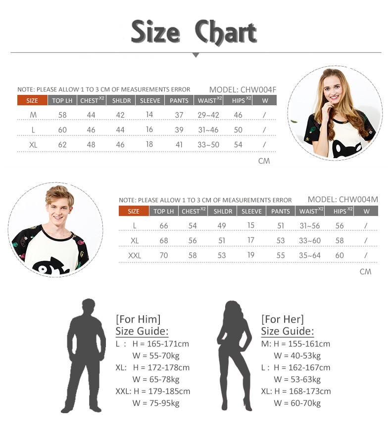 CHW004MF Cat and Fish Couple Home Wear Set Size Chart