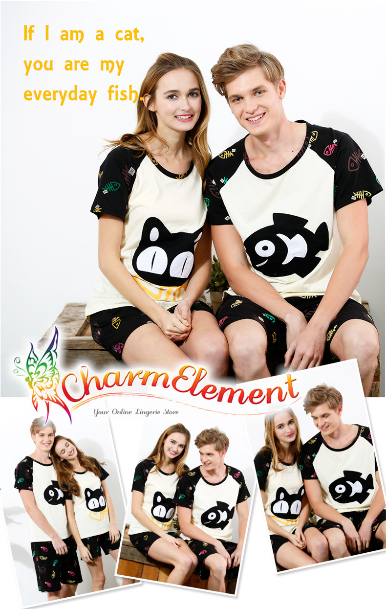 CHW004MF Cat and Fish Couple Home Wear Set View 01