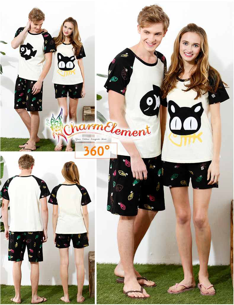 CHW004MF Cat and Fish Couple Home Wear Set View 02