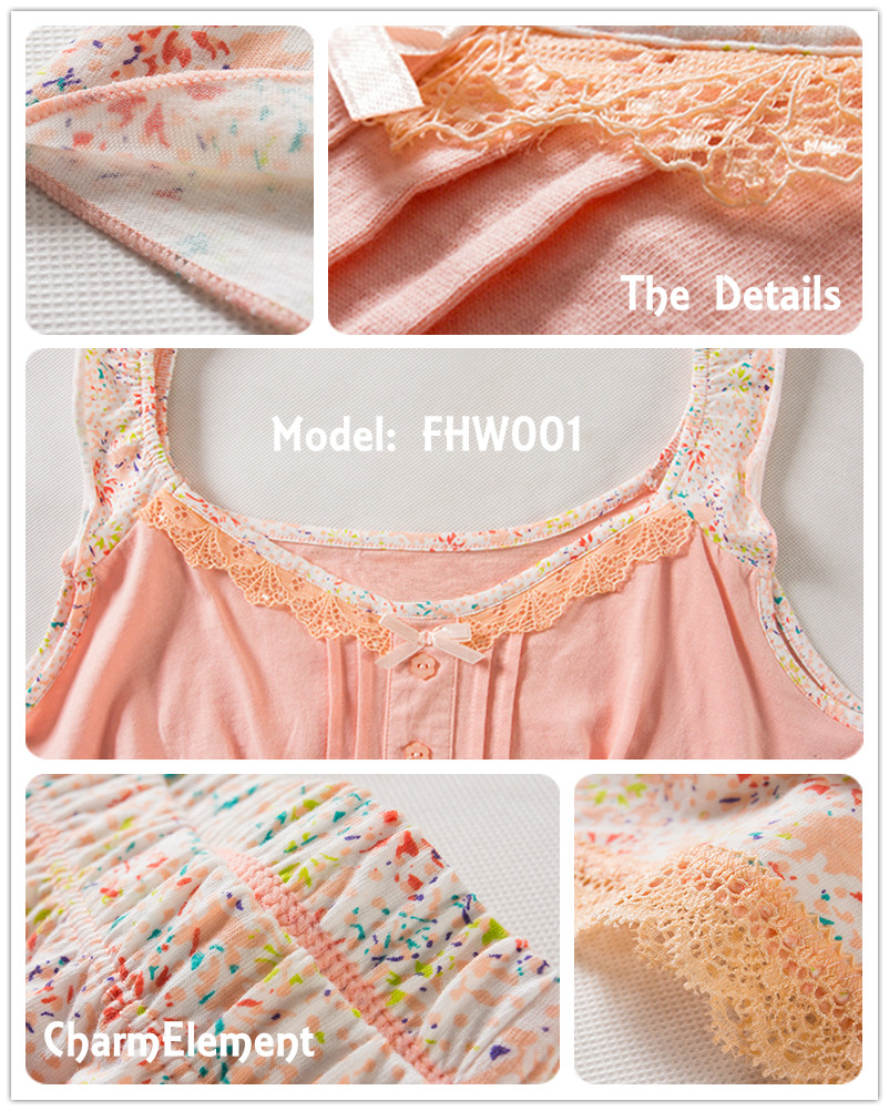 FHW001 Woman Sweet Camisole Home Wear cum Sleepwear Set Details