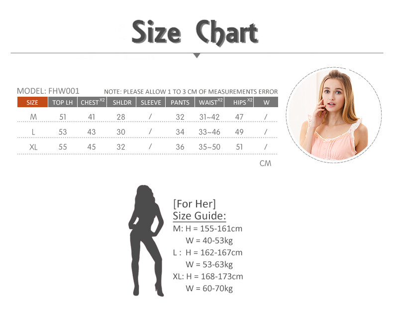 FHW001 Woman Sweet Camisole Home Wear cum Sleepwear Set Size Chart