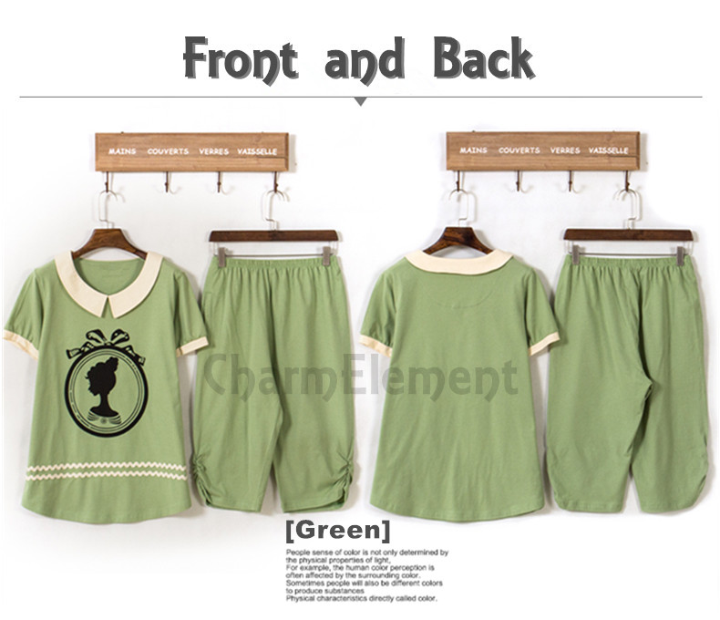 FHW002 Woman Fair Lady Head Print Home Wear Set Green Front and Back