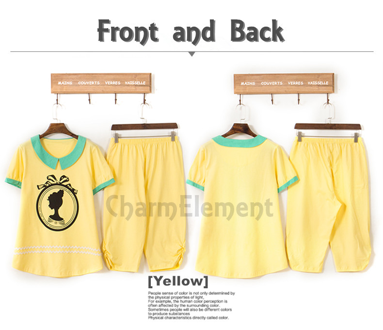 FHW002 Woman Fair Lady Head Print Home Wear Set Yellow Front and Back