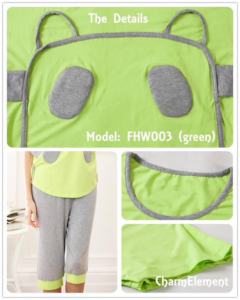 FHW003 Woman Funky Two Tone Sleepwear Set Green Details