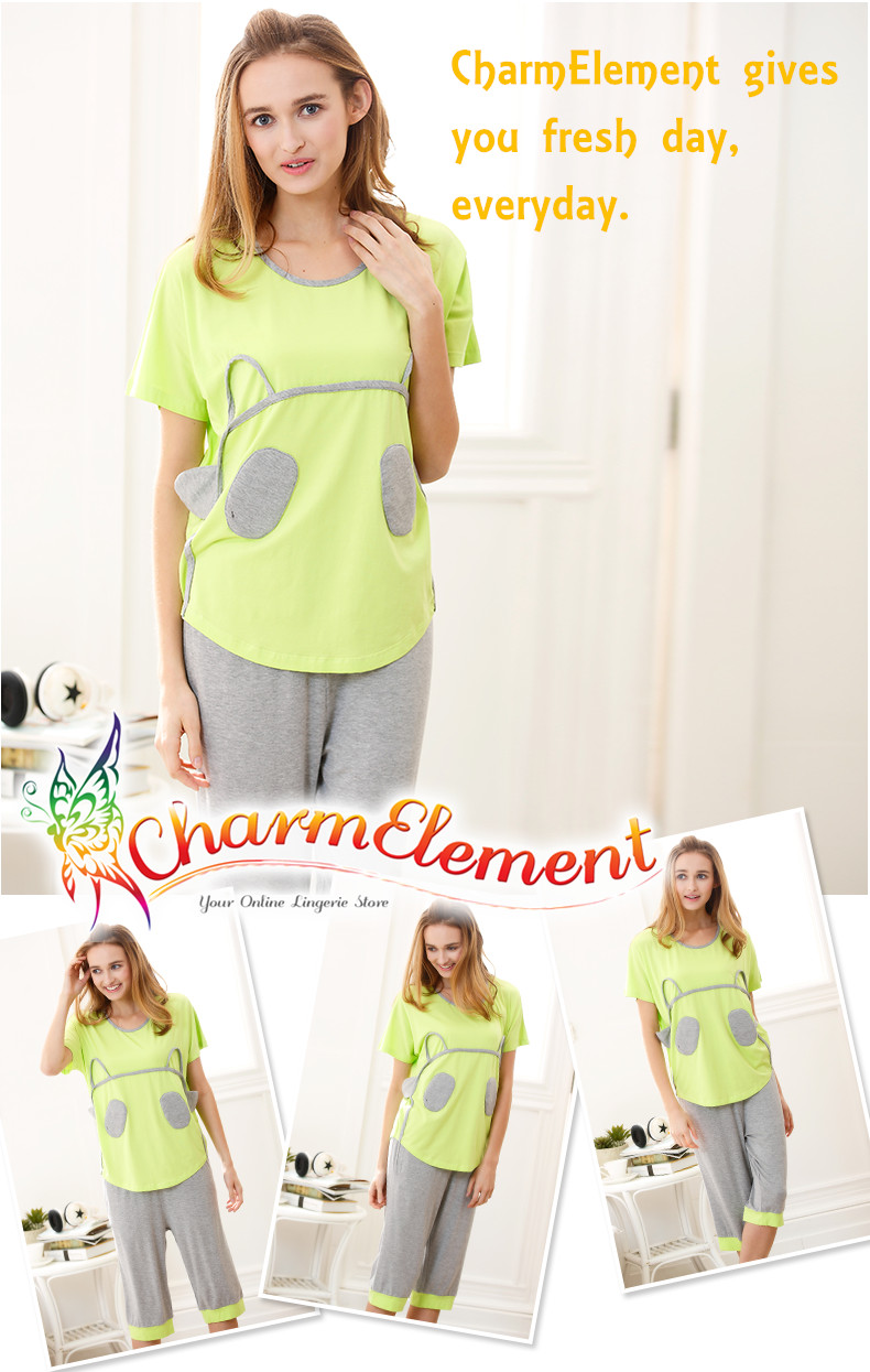 FHW003 Woman Funky Two Tone Sleepwear Set Green View 01