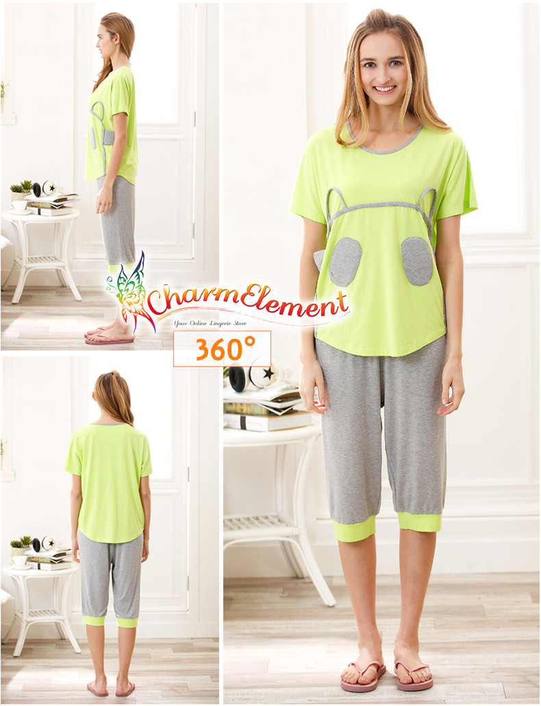 FHW003 Woman Funky Two Tone Sleepwear Set Green View 02