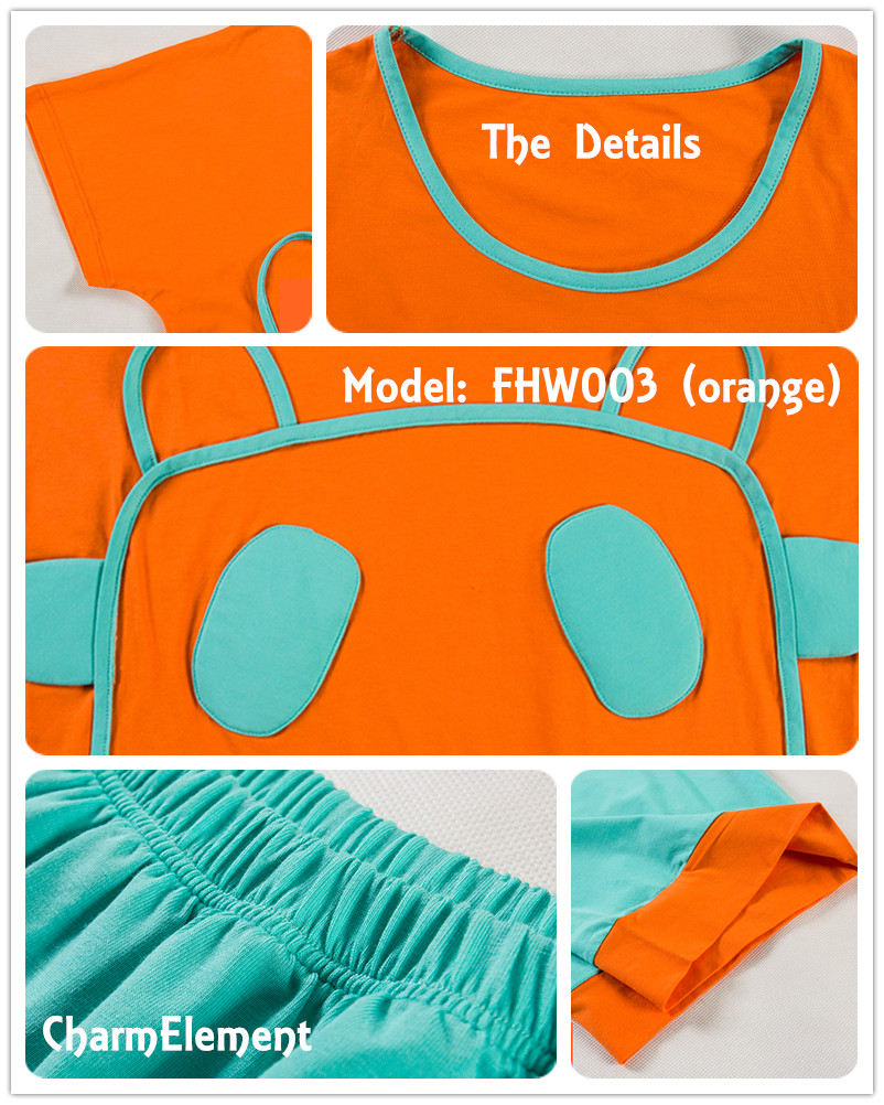 FHW003 Woman Funky Two Tone Sleepwear Set Orange Details