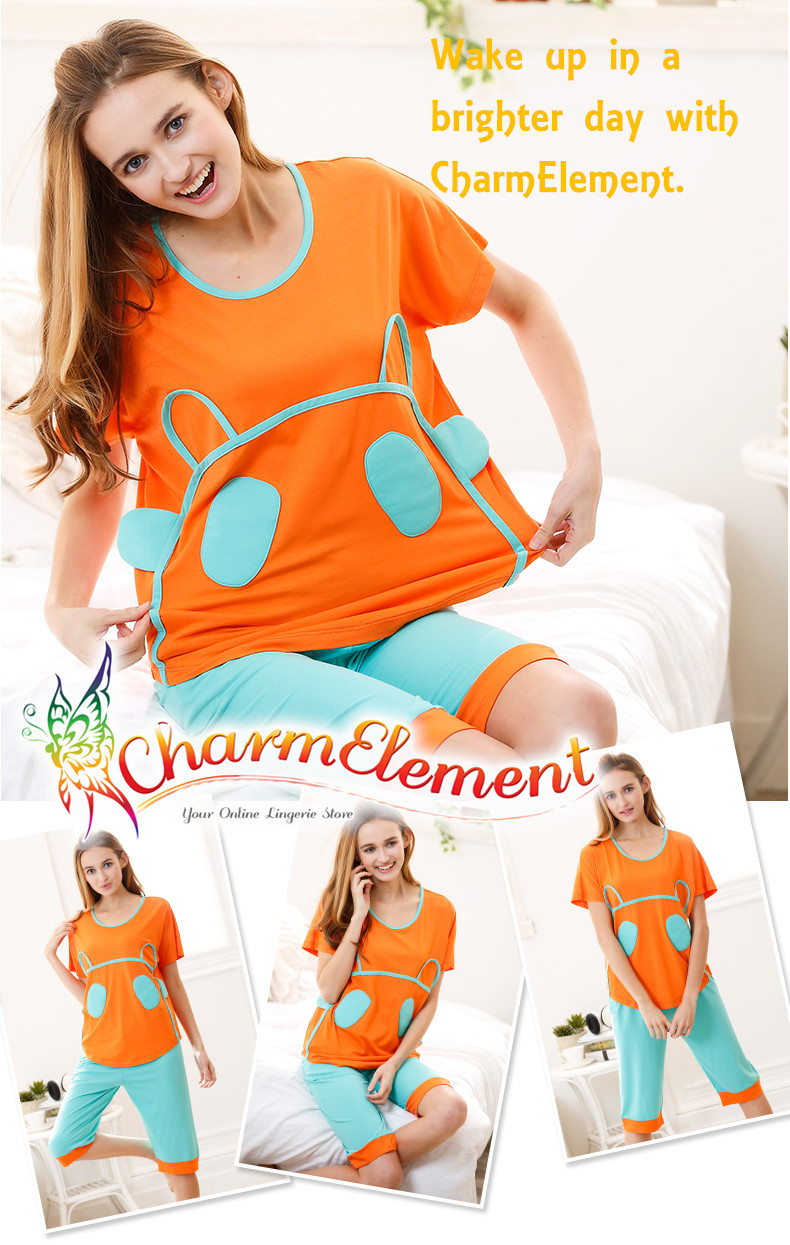 FHW003 Woman Funky Two Tone Sleepwear Set Orange View 01