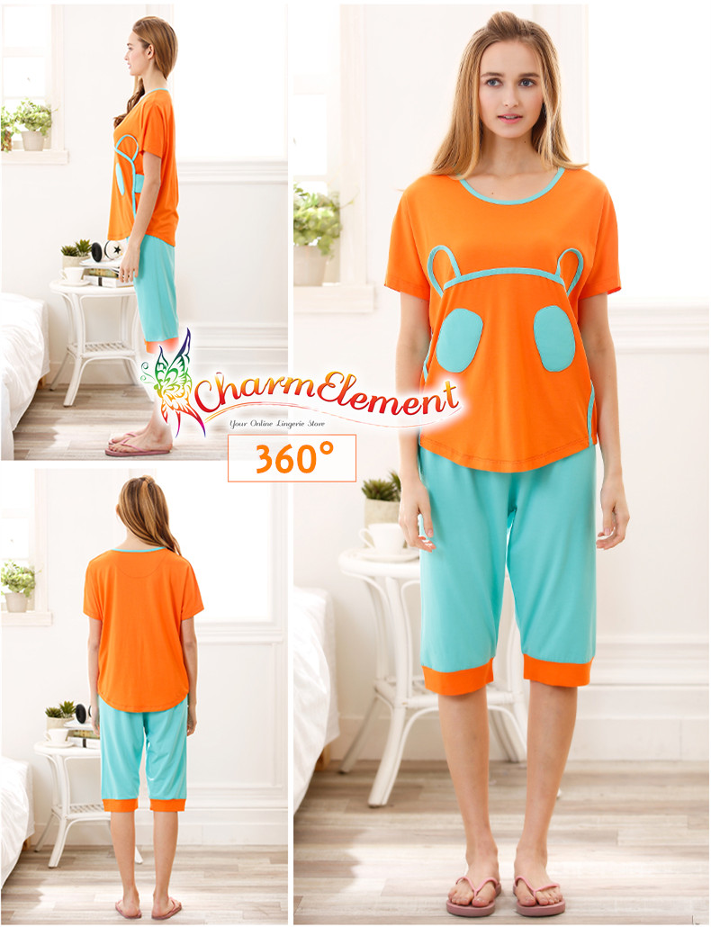 FHW003 Woman Funky Two Tone Sleepwear Set Orange View 02