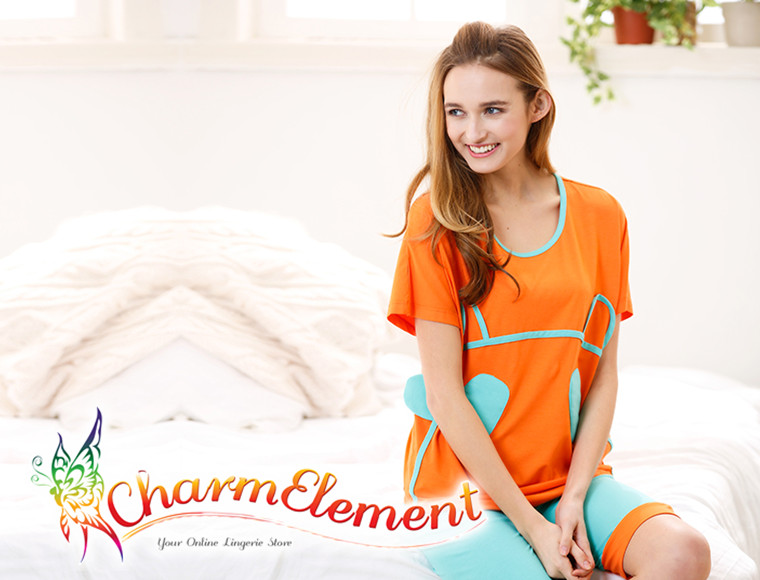 FHW003 Woman Funky Two Tone Sleepwear Set Orange View 03