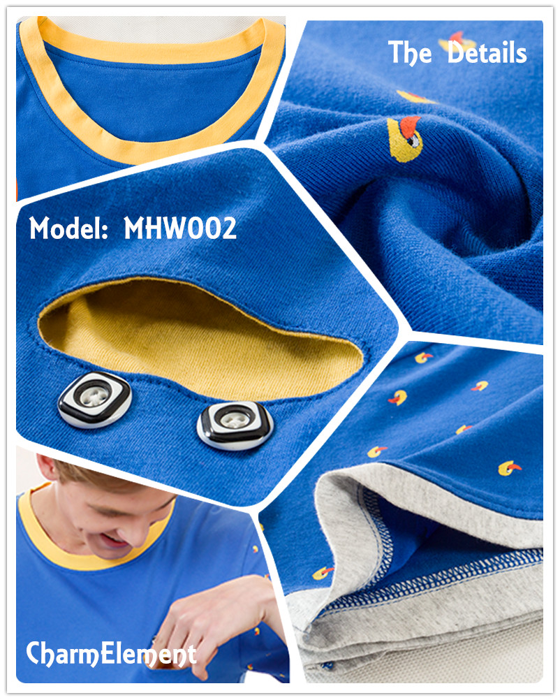 MHW002 Man Bright Blue Home Wear Set Details