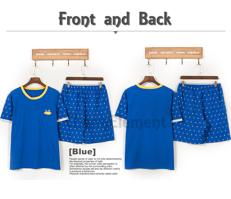 MHW002 Man Bright Blue Home Wear Set Front and Back