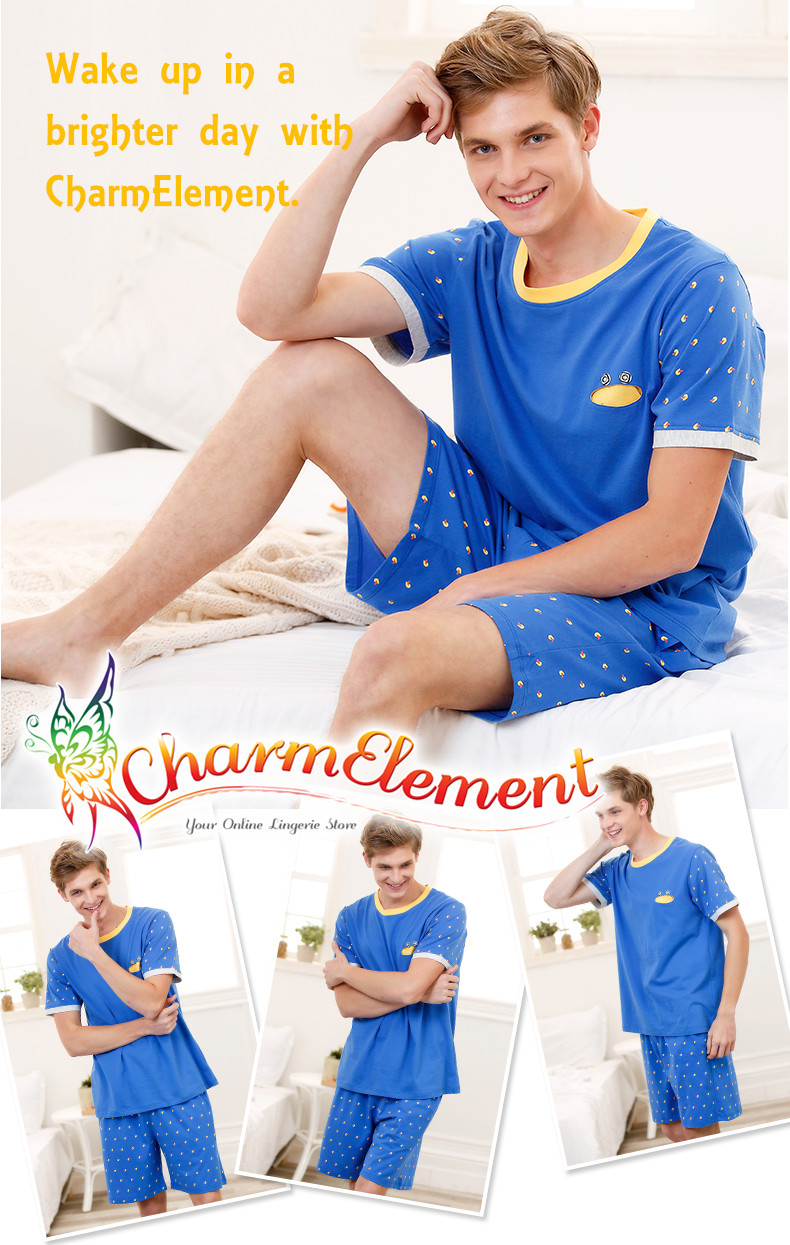 MHW002 Man Bright Blue Home Wear Set View 01