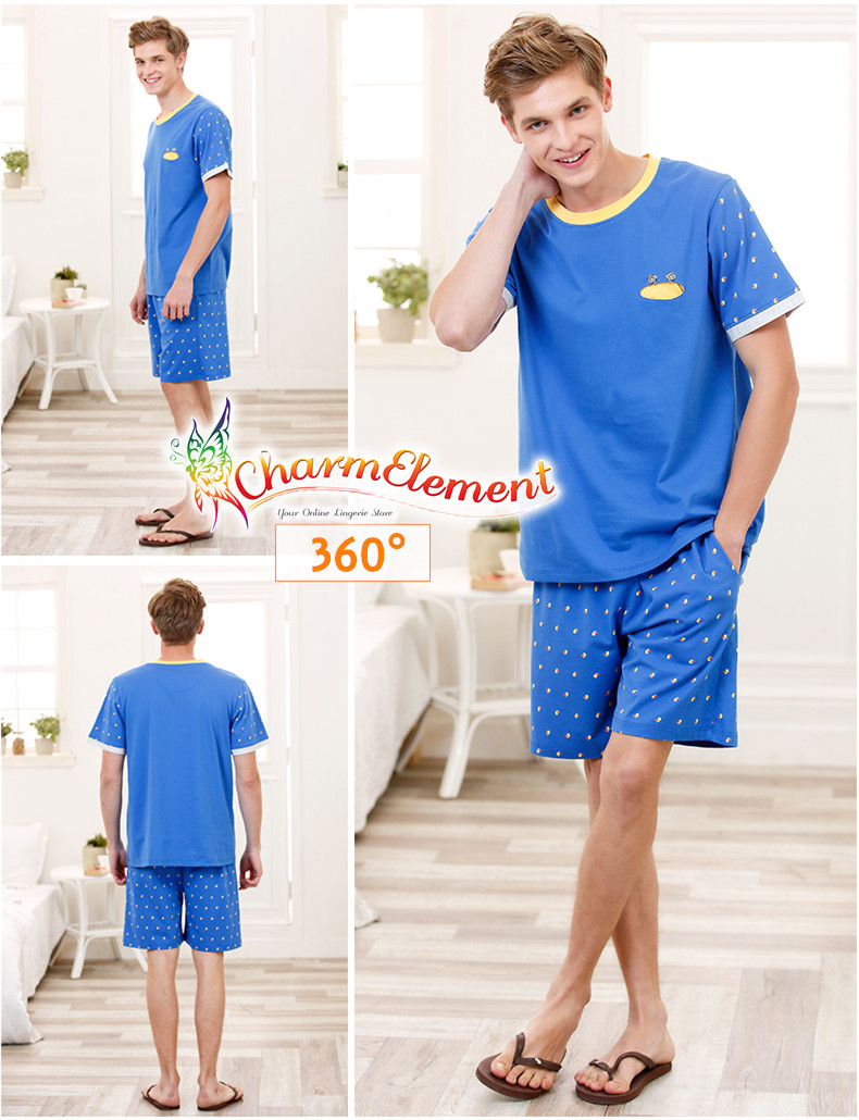MHW002 Man Bright Blue Home Wear Set View 02