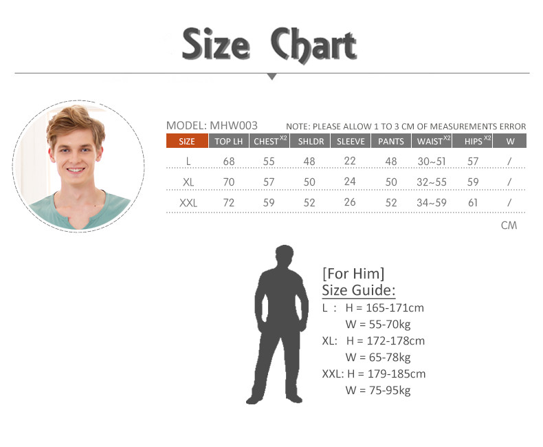 MHW003 Man Sea Cool Home Wear Set Size Chart