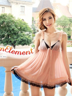 PBD001-Sweet Two Tone Lace Trim Babydoll Apricot 01