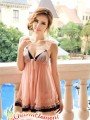 PBD001-Sweet Two Tone Lace Trim Babydoll Apricot 02