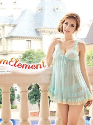 PBD001-Sweet Two Tone Lace Trim Babydoll Blue 01
