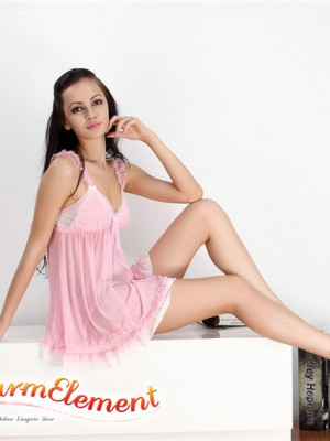PBD001-Sweet Two Tone Lace Trim Babydoll Pink 01