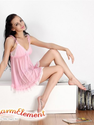 PBD001-Sweet Two Tone Lace Trim Babydoll Pink 02