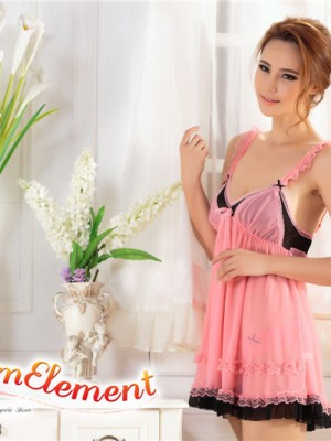 PBD001-Sweet Two Tone Lace Trim Babydoll Watermelon 01