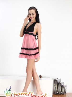 PBD002-Sweet Two Tone Cake Hem Babydoll Watermelon 01