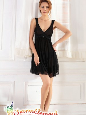 PCN001-Gorgeous Princess Chemise Nightgown Black 01