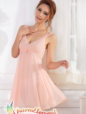 PCN001-Gorgeous Princess Chemise Nightgown Peach 02