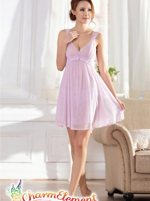 PCN001-Gorgeous Princess Chemise Nightgown Purple 01