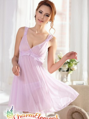 PCN001-Gorgeous Princess Chemise Nightgown Purple 02