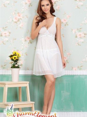 PCN001-Gorgeous Princess Chemise Nightgown White 01