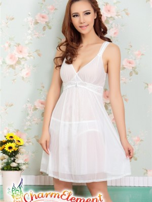 PCN001-Gorgeous Princess Chemise Nightgown White 03