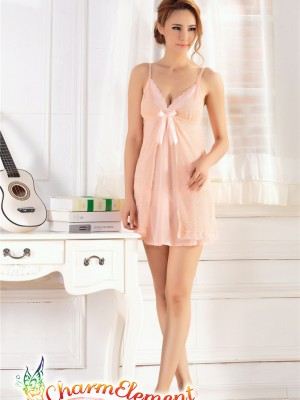 PCN002-Exquisite Princess Chemise Nightgown Peach 01
