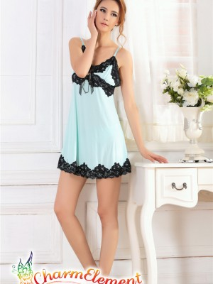 PCN003-Sweet and Sensual Chemise Nightgown Blue 01