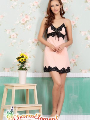 PCN003-Sweet and Sensual Chemise Nightgown Peach 01