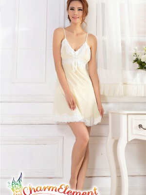 PCN003-Sweet and Sensual Chemise Nightgown Yellow 01
