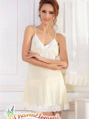 PCN003-Sweet and Sensual Chemise Nightgown Yellow 02
